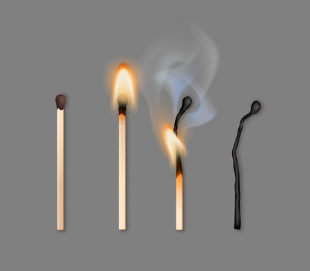 Vector illustration of different phases of burning matches isolated on gray background