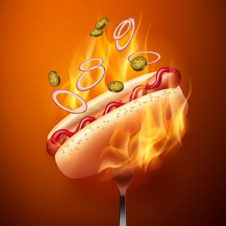 Ilustración de vector de hot dog con salchicha a la parrilla en pan con sésamo y jalapeños cayendo y cebolla en tenedor en fuego
