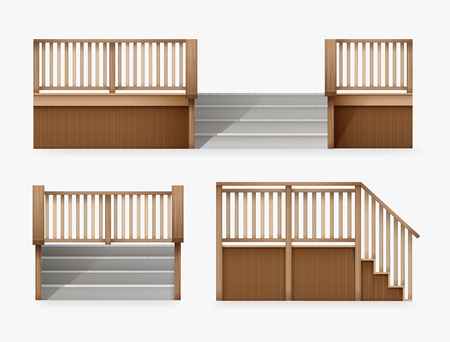 Vector illustration of staircase for entrance to house, stairway of porch from wooden balustrade front and side view, isolated on white background