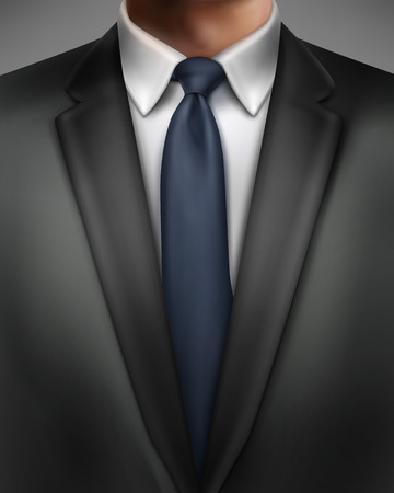 Vector illustration of elegantly dressed man in black suit and blue necktie isolated on background