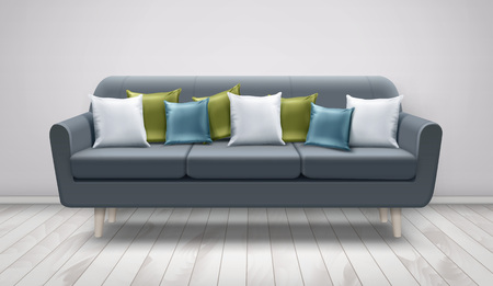 Vector illustration of gray sofa with decorative cushions for lounge on wooden floor and white wall. White, blue and green pillows on settee