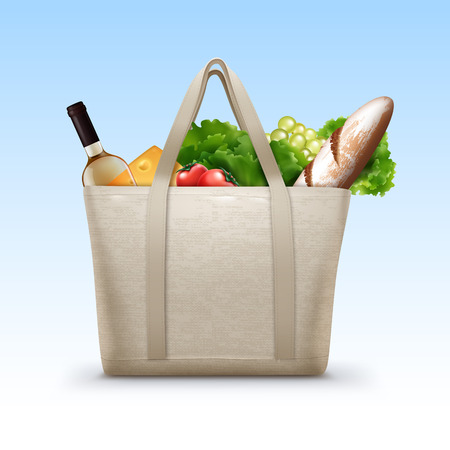 Vector illustration of reusable textile shopping bag with handles full of groceries and daily food isolated on white background