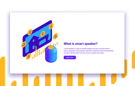 Vector isometric illustration of smart speaker and home automation digital voice assistant with infographic and description text on white background