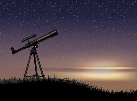 Silhouette of telescope on the rock with the star at the sky sunset Ilustração Vetorial