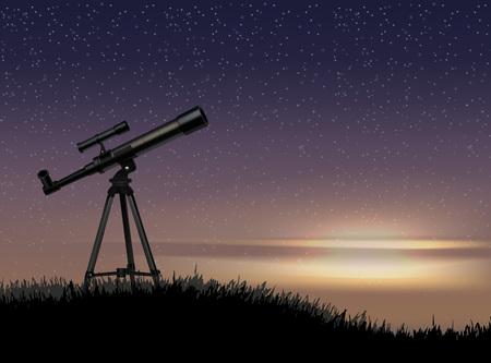 Silueta de telescopio en la roca con la estrella en el cielo del atardecer Ilustración de vector