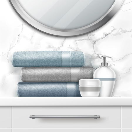 Vector illustration of folding towels and soap on chest of drawers and mirror on white marble wall in light interior of bathroom