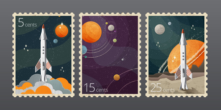 Vector illustration of vintage space postage stamp with planets isolated on gray background Çizim