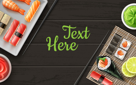 Vector sushi flat lay on black wooden table with place for text