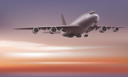 Vector airplane on the sunrise or sunset sky background. Perspective view.