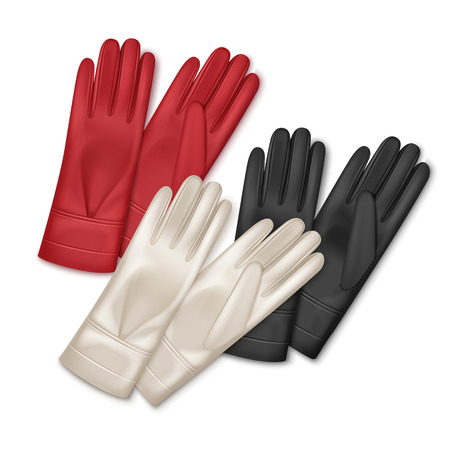 Vector illustration of three pair women leather gloves different colors isolated on white background