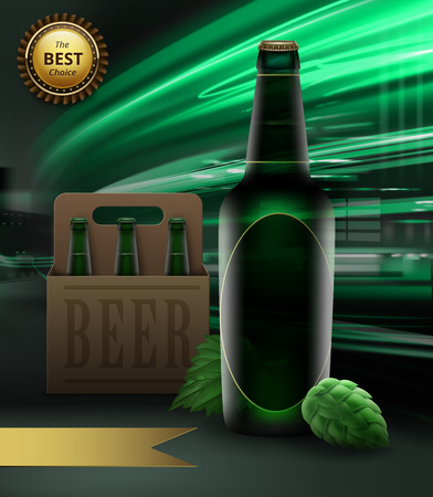 Vector illustration of green beer bottle and hops with packing and gold ribbon with reward on city light background