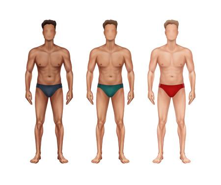 Illustrazione vettoriale di tre uomini in piedi con diverse nazionalità e tipi di pelle e in biancheria intima sullo sfondo Vettoriali
