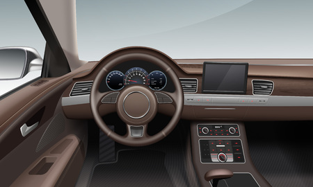 Vector illustration of interior inside car with leather wheel land dashboard in brown color
