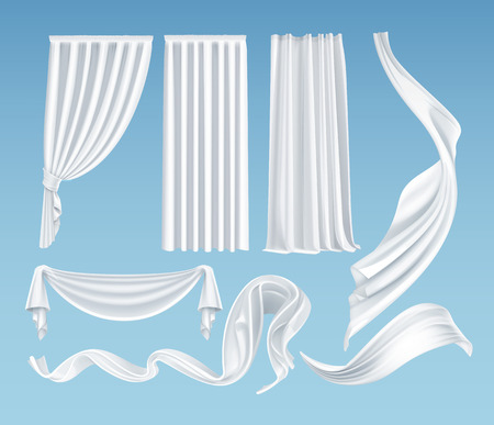Vector set of realistic fluttering white cloths, soft lightweight clear material and curtains isolated on gradient blue background