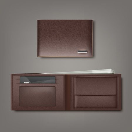Vector brown natural leather wallet closed and open with money and credit card isolated on gray background Ilustrace