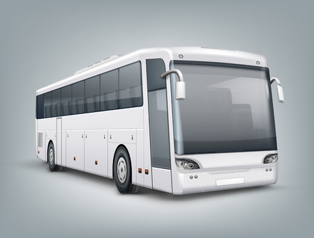 Vector realistic illustration. One passenger bus in perspective view, isolated on gray background