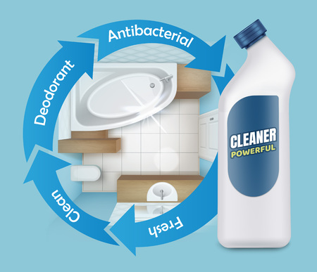 Vector illustration of tile mold cleaner ads, powerful detergent product, top view of bathroom with white plastic bottle on blue background Ilustrace
