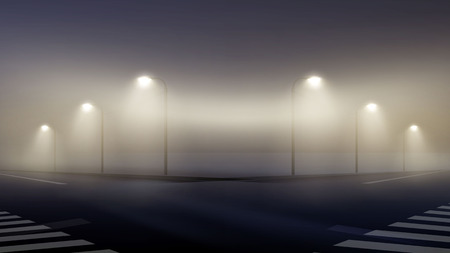 Vector illustration of empty foggy street at night in suburbs, wallpaper mist crossroad lit lanterns