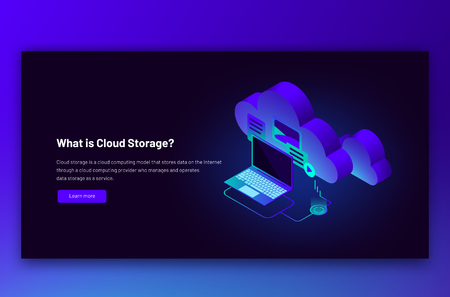 Vector isometric illustration of cloud data storage. Synchronization data transfer upload and download process, backup with laptop on blue background