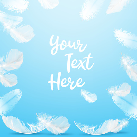 Vector illustration of frame delicate white feathers on blue background with space for text 版權商用圖片 - 123885556