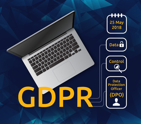 Vector illustration of laptop top view and General Data Protection Regulation or GDPR with explanatory icons. Concept of privacy laws for users