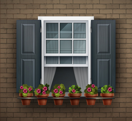 Elements of architecture , window background. Window with flower pots on a wall. Cartoon house element. Close up view of nice white framed window with flowers