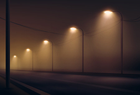 Vector illustration of empty road lit by lanterns in the fog the night. Street lighting in warm colors