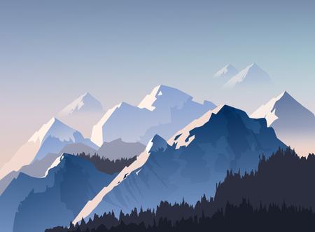 Ilustracja wektorowa pasma górskiego i szczytów z porannym światłem spowitym we mgle, tapeta krajobrazowa