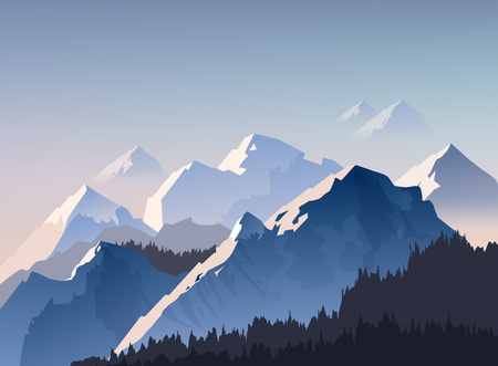 Vector illustration of mountain range, and peaks with morning light shrouded in fog, landscape wallpaper