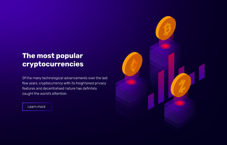 Vector illustration of popular cryptocurrency. Banner with rating of bitcoin and altcoins. Design elements on violet background with space for text