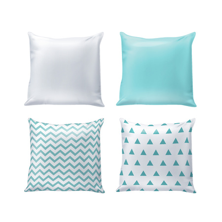 Vector blank and printed pillows in white and blue colors isolated on background