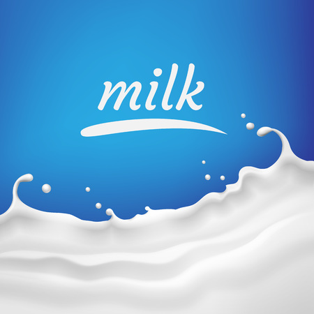 Vector illustration of milk, yogurt wave with splash and space for text on blue background for product design or advertising