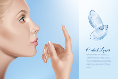 Vector illustration of female face and contacts for vision in hand, woman applying contact lenses. Opthalmology concept on blue background Ilustrace