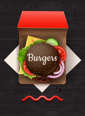 Vector illustration of big cheeseburger with black bun and sesame in red cardboard box, top view Ilustrace