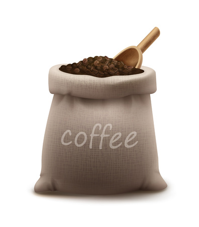 Vector illustration of roasted coffee beans in burlap sack or bag with wooden scoop isolated on background