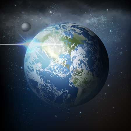 Vector illustration view from space of realistic planet earth with moon in universe with milky way on dark background