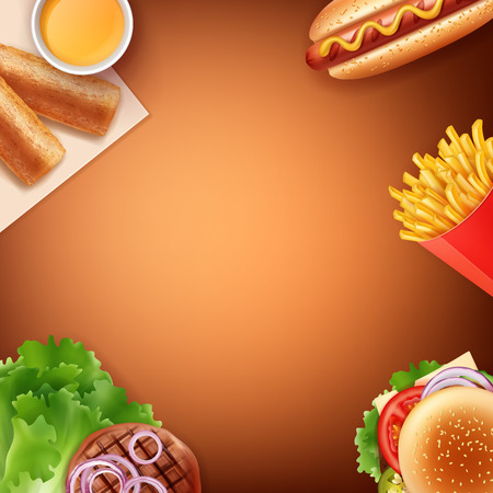 Vector illustration of fast food meal: French fries, hot dog, cheeseburger , fried patty with sauce and grilled meat with vegetables. Isolated on brown background with space for your text.