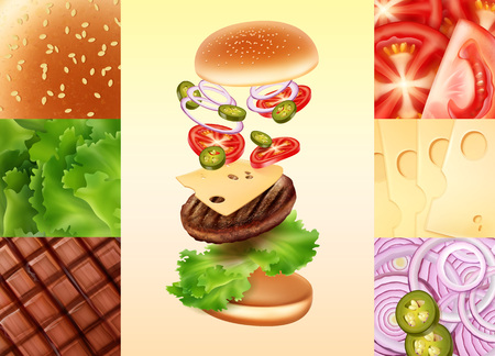 Vector illustration of cheeseburger in exploded view with tomato, cheese, onion, jalapenos, beef, lettuce and bun with sesame. Concept of ingredients for burger