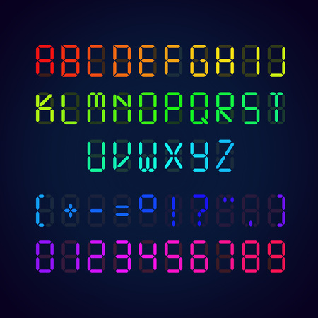 Vector template of colorful digital glowing font. Illustration of letters and numerals with punctuation marks