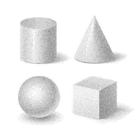 Vector illustration of basic 3d shapes set of cube, cylinder, sphere and cone with halftone grainy texture, geometric stippled solids on white background
