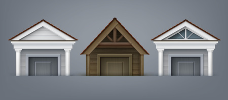 Vector illustration of element facade, three porticos made of wood and concrete with columns over door on background