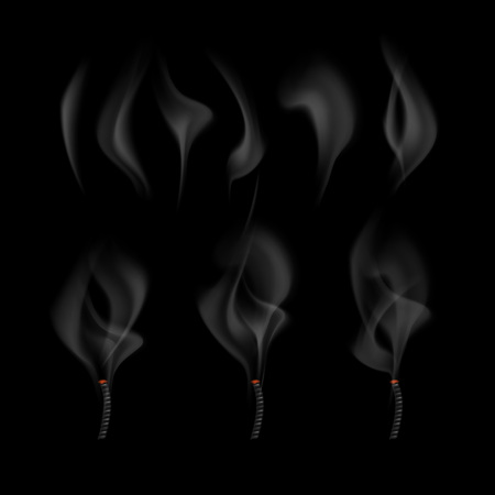 Vector illustration of different realistic fume waves set and smoke coming from extinguished wick isolated on black background