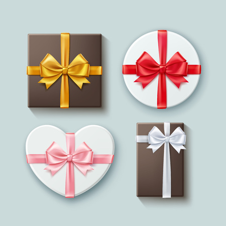 Vector set of gift boxes different forms with ribbons and bow-knots. Isolated on background, top view Ilustrace