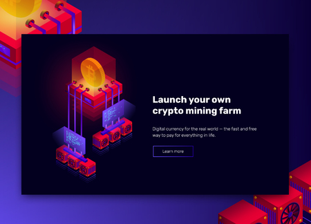 Vector illustration of cryptocurrency mining farm, big data processing for bitcoin, blockchain isometric concept, presentation banner in violet and red colors Ilustrace