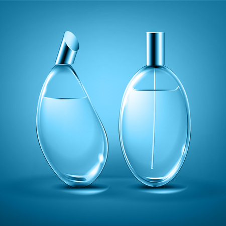 Vector perfume bottles different forms isolated on background