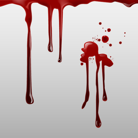 Vector illustration of dripping blood and set of different gore splashes, drops and trail on white background