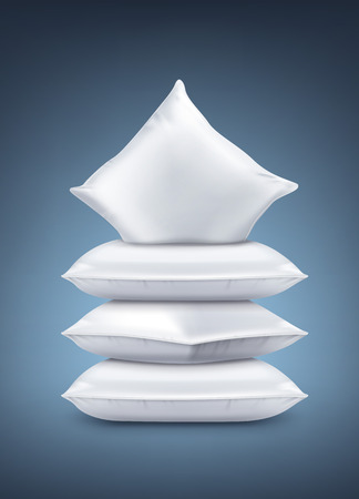 Vector illustration of realistic white pillows isolated on navy dark blue background
