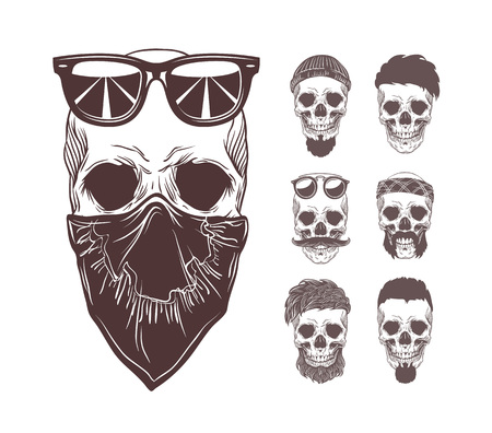 Vector illustration of skull in bandanna and sunglasses on face with set monochrome skulls isolated on background