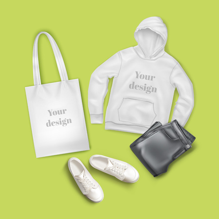 Vector flat lay illustration of hoodie, black jeans, white canvas bag and sneakers, casual fashion clothes and accessory set with space for text on lime green background