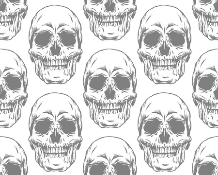 Vector seamless monochrome gray pattern with skulls on white background